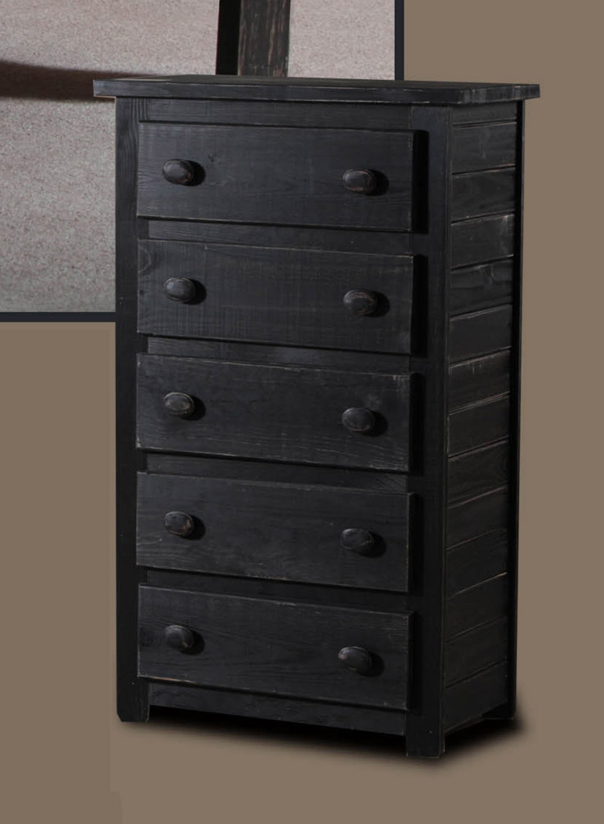 Chelsea Home 5 Drawer Chest - Black Distressed