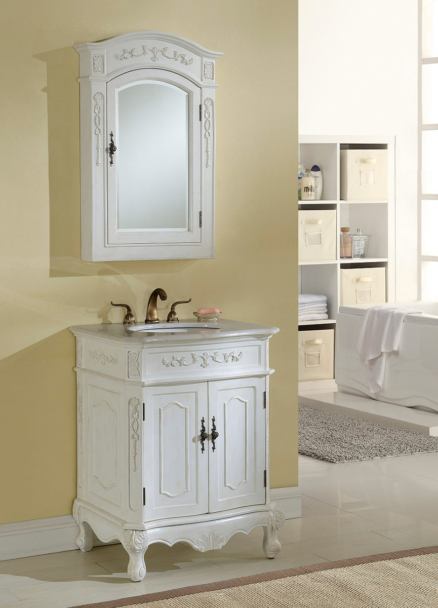 Chelsea Home Cambridge 27-inch Vanity With Medicine Cabinet - Antique White