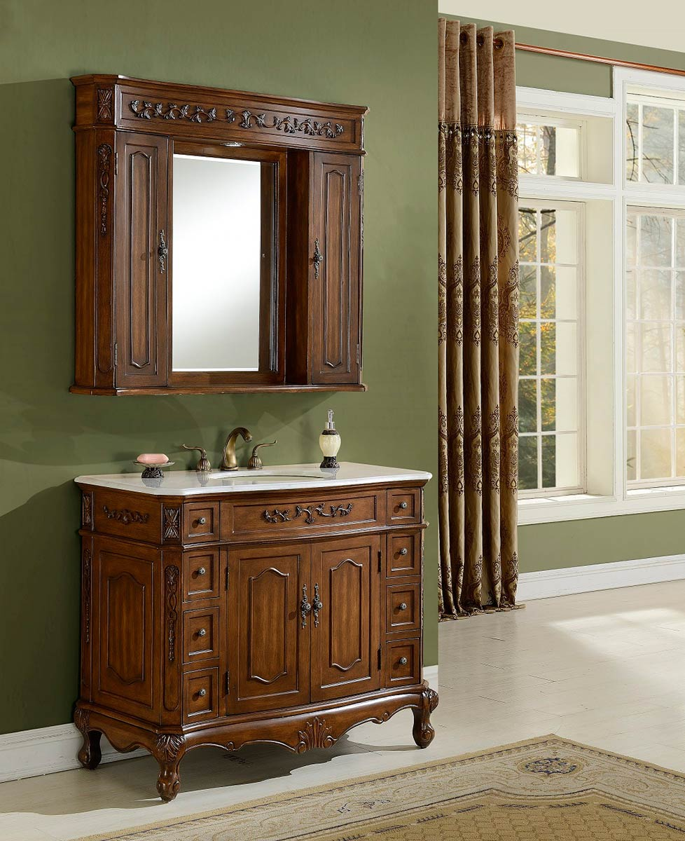 Chelsea Home Cambridge 42-inch Vanity With Medicine Cabinet - Teak