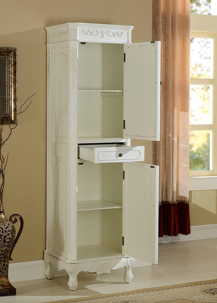 Delicieux Chelsea Home Cambridge Linen Cabinet With Mirror   Antique White