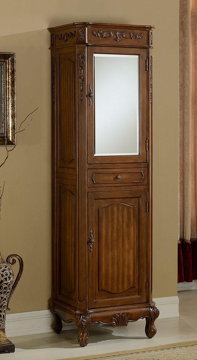 Chelsea Home Cambridge Linen Cabinet with Mirror - Teak