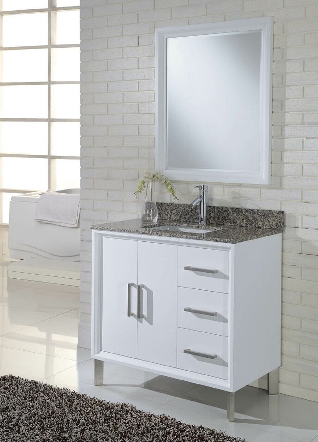 Chelsea Home Luna 36-inch Vanity with Mirror - White