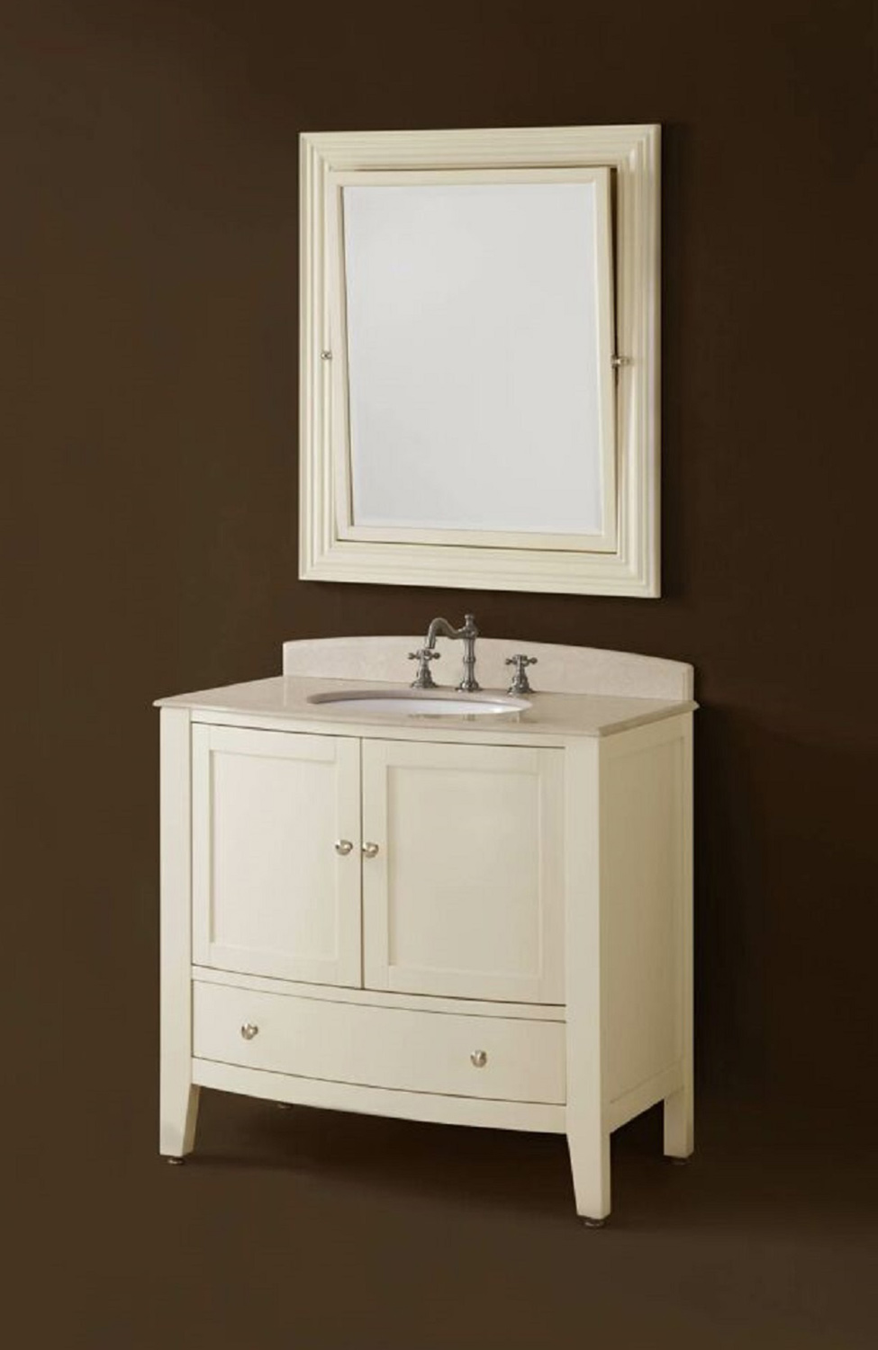 Chelsea Home Loft 36-inch Vanity with Mirror - Ivory
