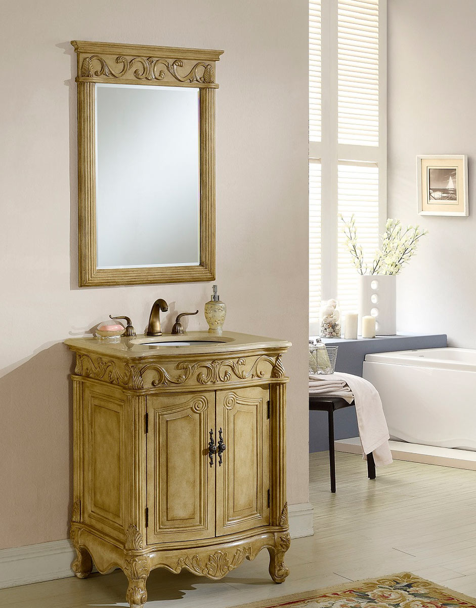 Chelsea Home Villa 27-inch Vanity with Mirror - Tan