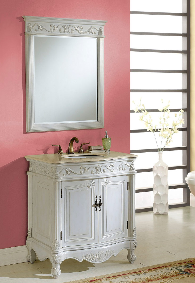 Chelsea Home Villa 32-inch Vanity with Mirror - Antique White