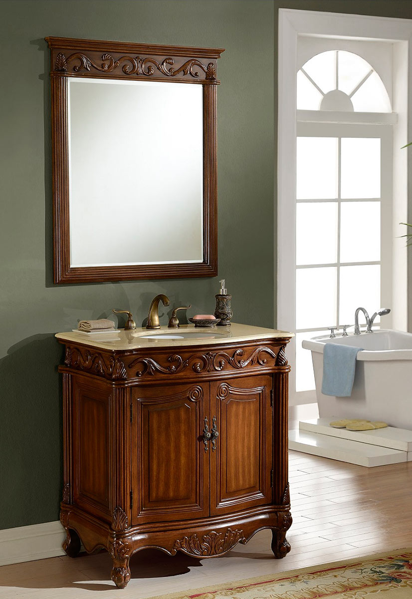 Chelsea Home Villa 32-inch Vanity with Mirror - Teak