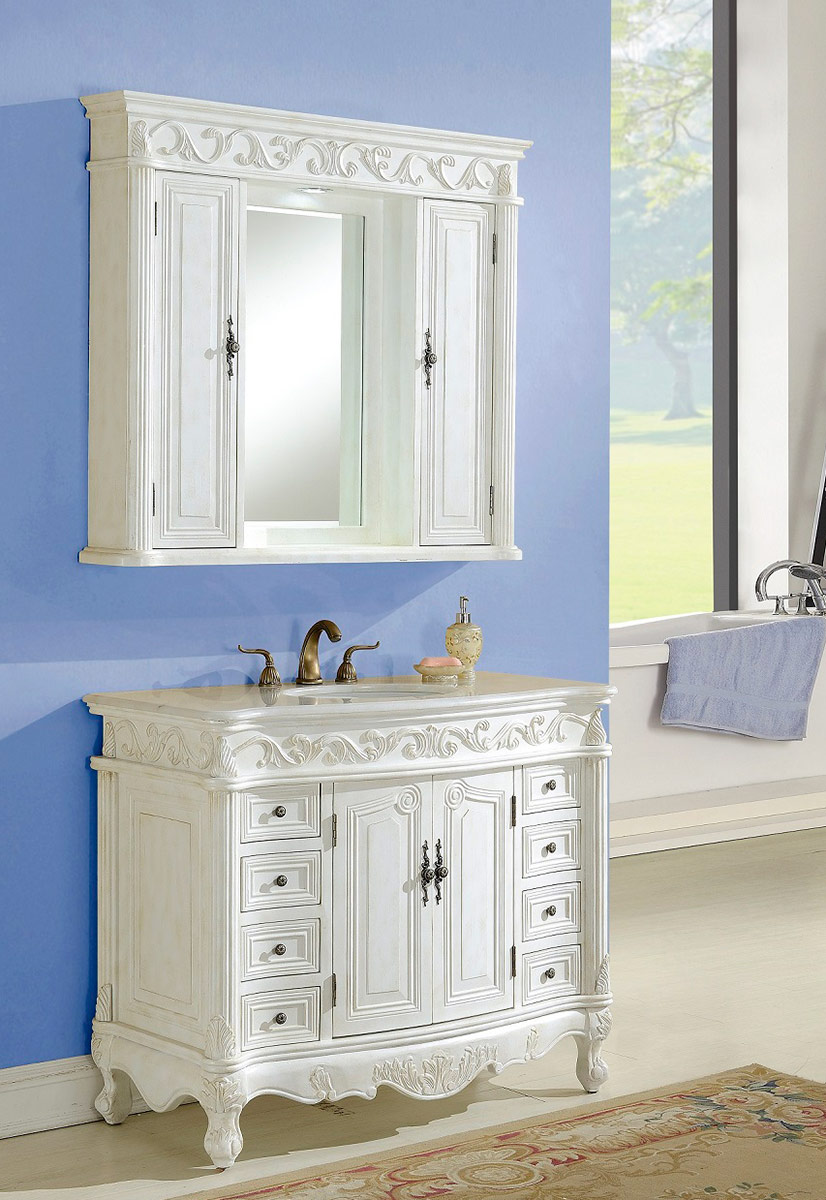 Chelsea Home Villa 42 Inch Vanity With Medicine Cabinet   Antique White