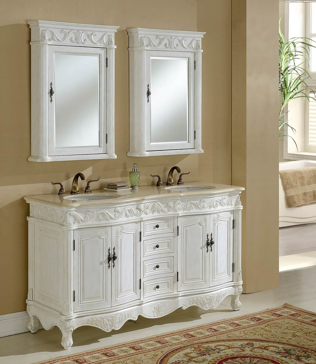 Chelsea Home Villa 60 Inch Vanity With Medicine Cabinet   Antique White