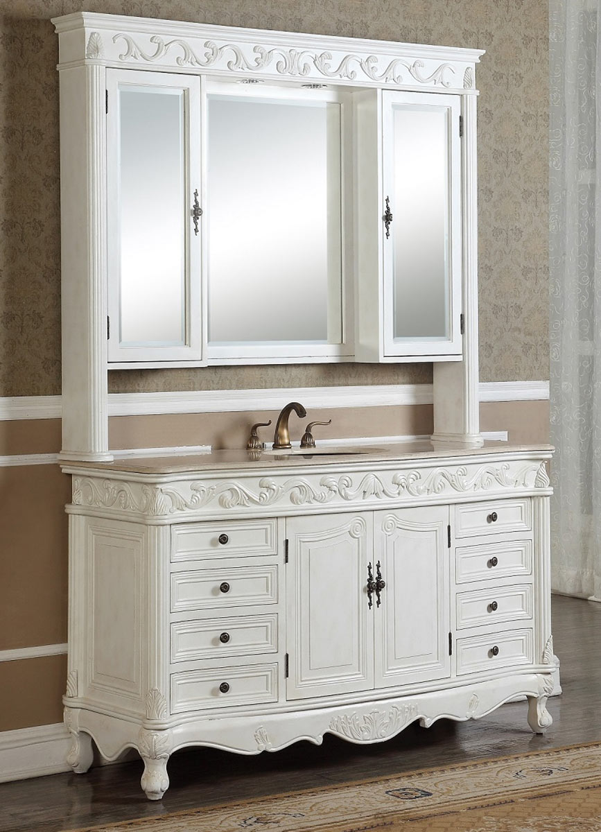 Chelsea Home 34T2917-60AW-S-MC Villa 60-inch Vanity with Medicine Cabinet - Antique White