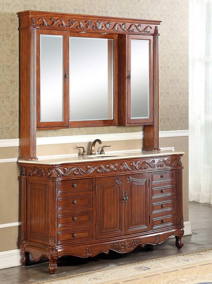Chelsea Home 34T2917-60TK-S-MC Villa 60-inch Vanity with Medicine Cabinet - Teak