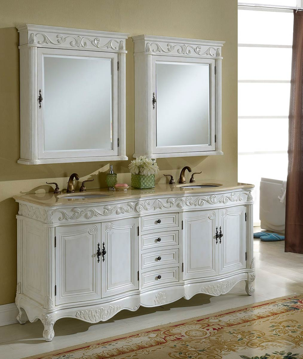 Chelsea Home Villa 72-inch Vanity with Medicine Cabinet - Antique White