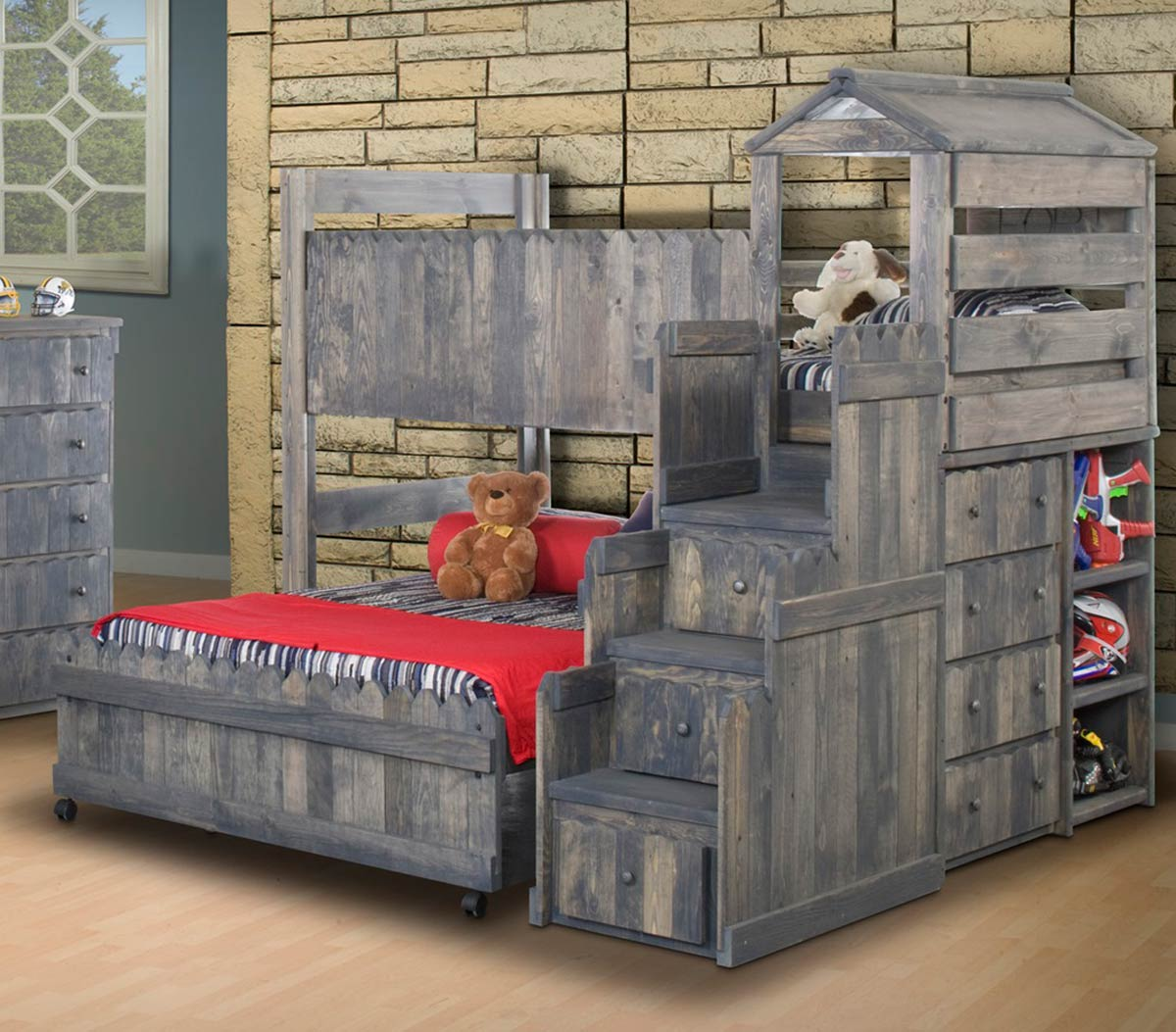 Chelsea Home 3514269-4274 Twin Over Full Loft Bed with Stairway Chest - Driftwood