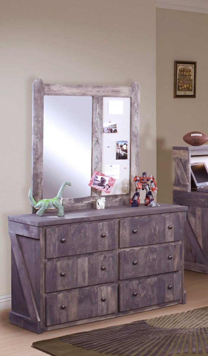 Chelsea Home 3514282-4286 6 Drawer Dresser with Mirror - Driftwood