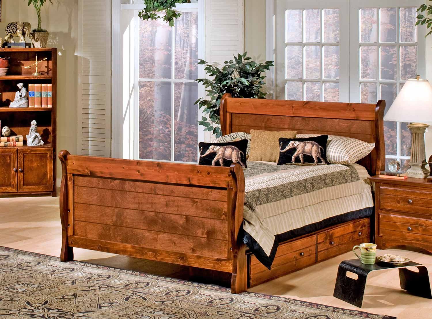 Chelsea Home 3524489-4491-S Full Sleigh Bed with Storage - Cocoa