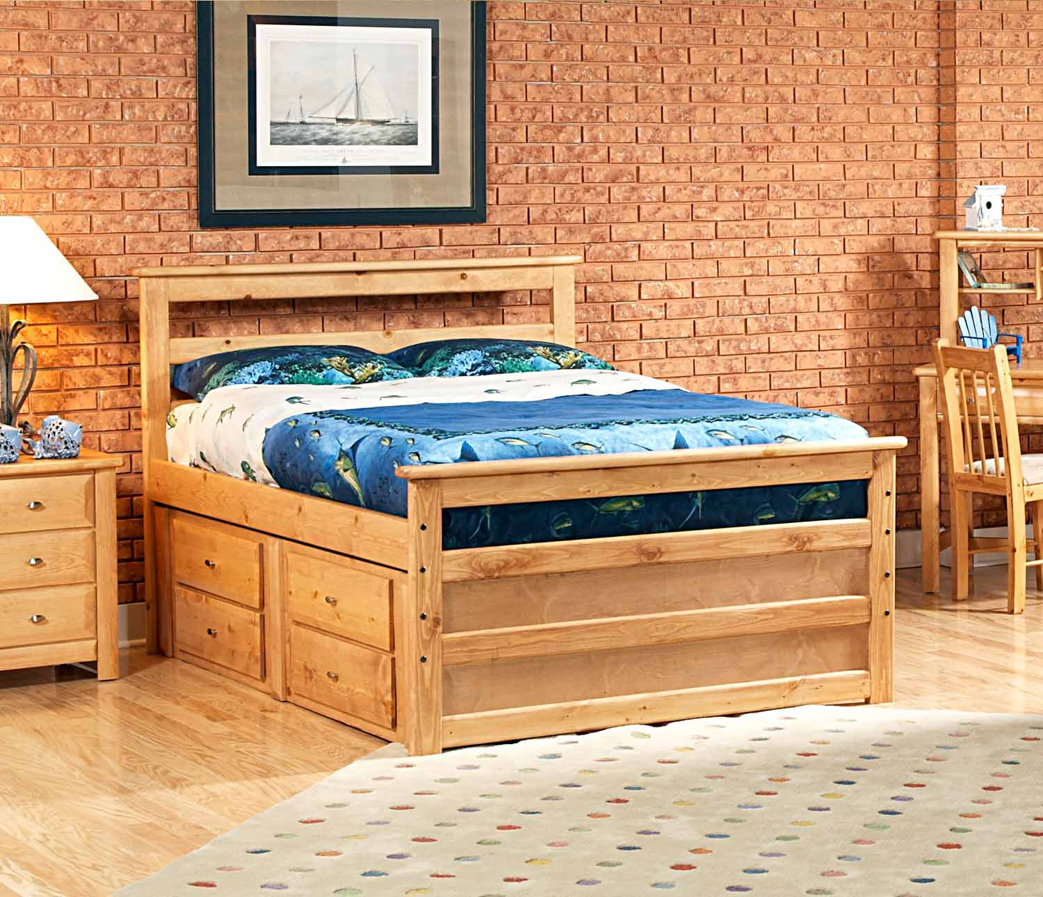 Chelsea Home 3534505-4507 Full Bed with Storage - Caramel