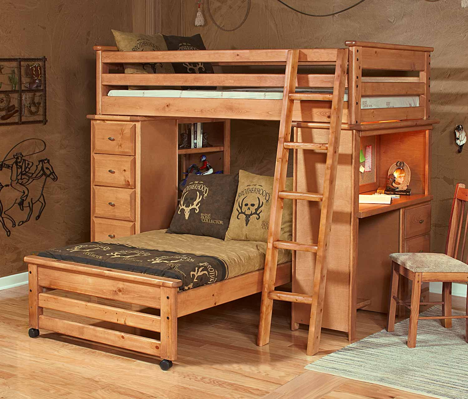 Chelsea Home 3534528-4534 Twin Over Twin Loft Bed with Chest and Desk Ends Caramel - Caramel