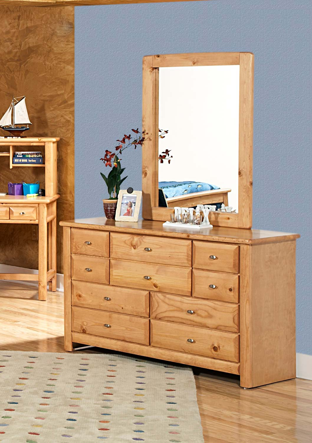 Chelsea Home 3534535-4536-C 9 Drawer Dresser with Mirror - Caramel