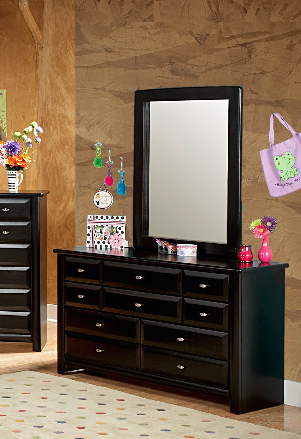 Chelsea Home 3534535-4536 9 Drawer Dresser with Mirror - Black Cherry