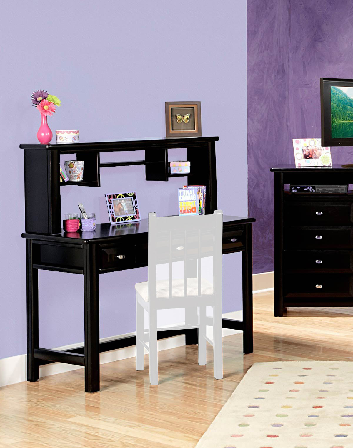Chelsea Home 3534540-4541 3 Drawer Student Desk with Hutch - Black Cherry