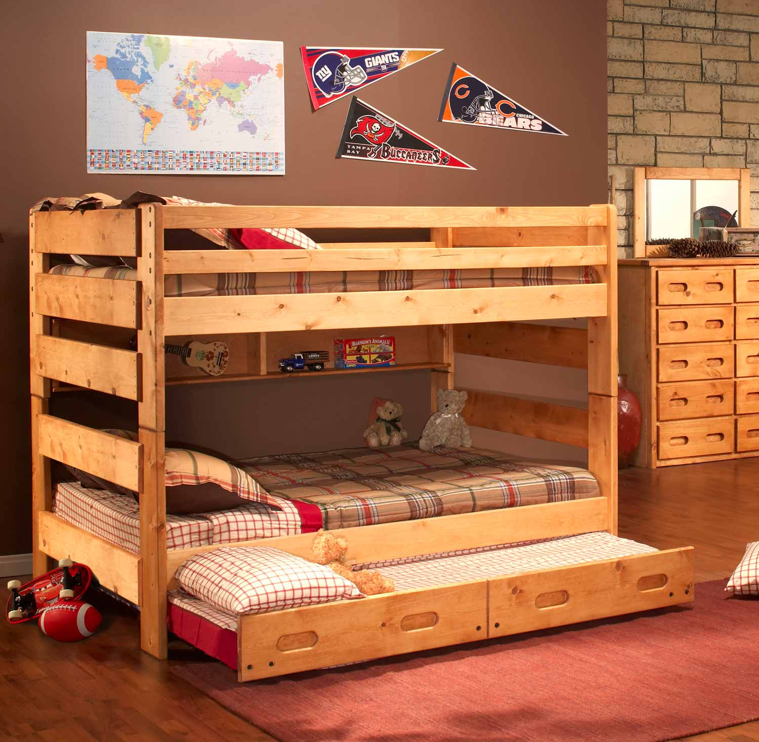 Chelsea Home 3544144-4739-T Full Over Full Bunk Bed with Trundle Unit - Cinnamon