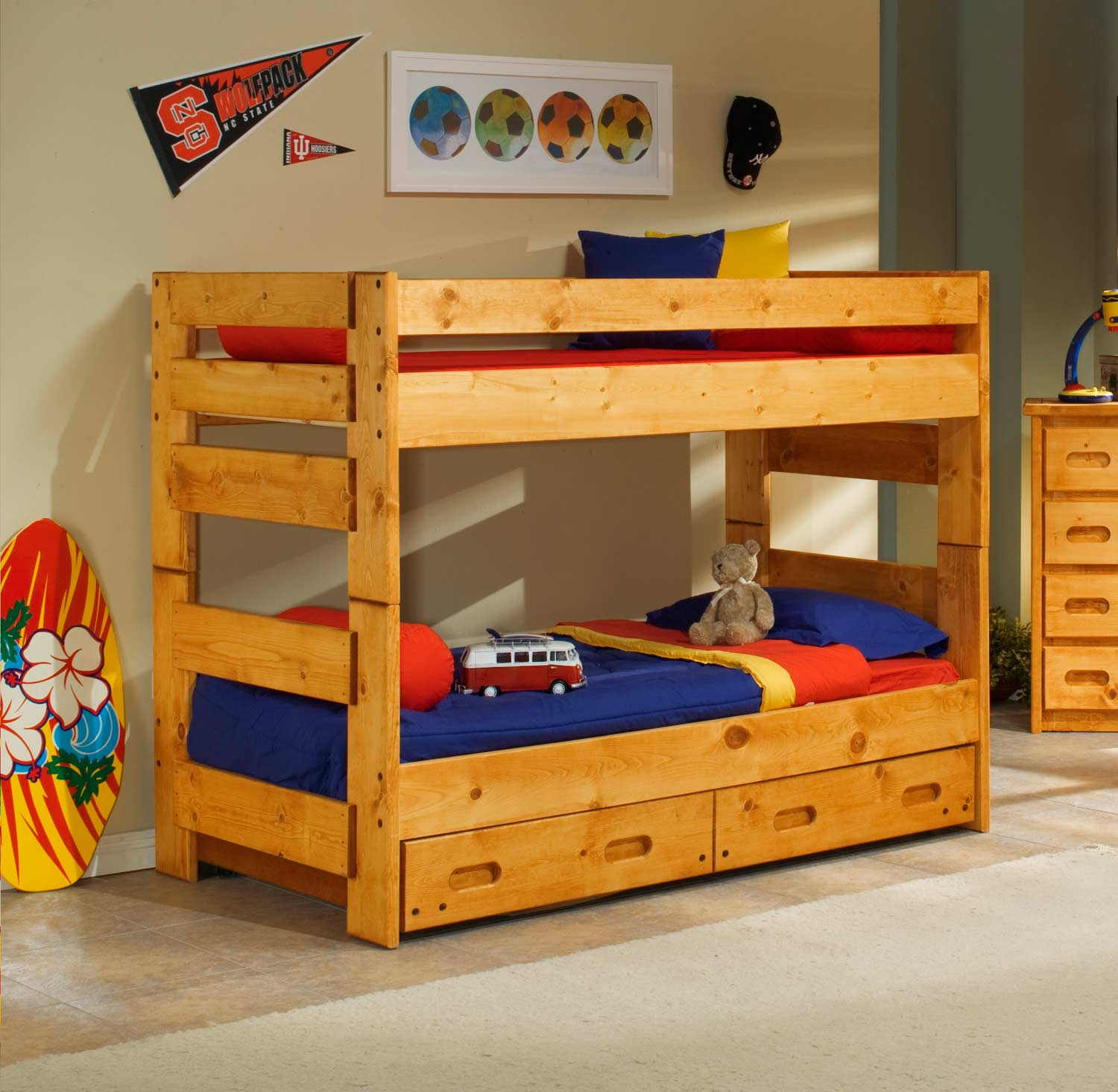 Chelsea Home 3544710-4711-T Twin Over Twin Bunk Bed with Trundle - Cinnamon