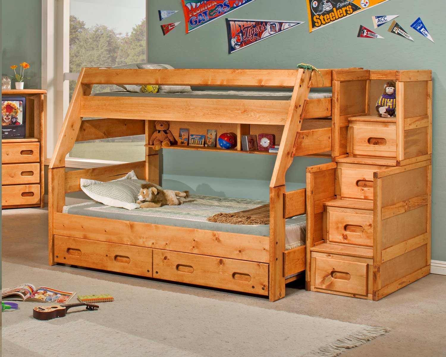 Chelsea Home 3544720-4754-T Twin Over Full Bunk Bed with Trundle and Stairway Chest - Cinnamon