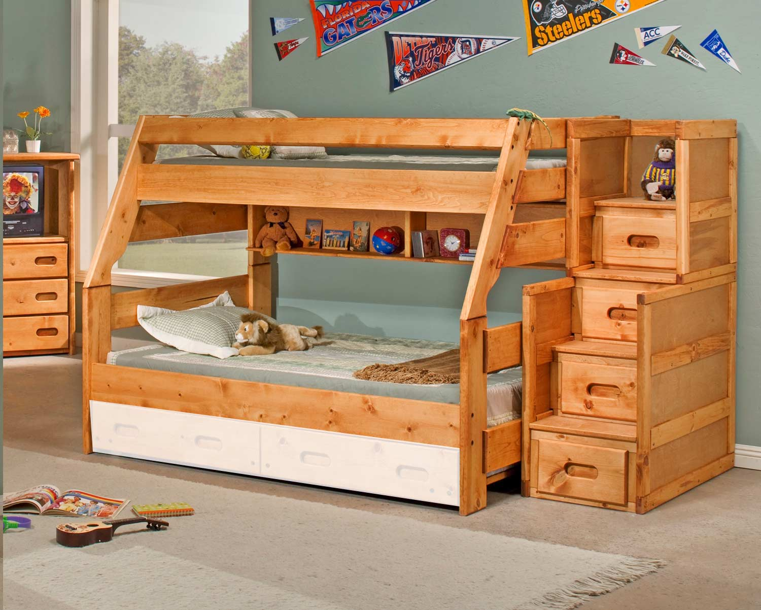 Chelsea Home 3544720-4754 Twin Over Full Bunk Bed with Stairway Chest - Cinnamon