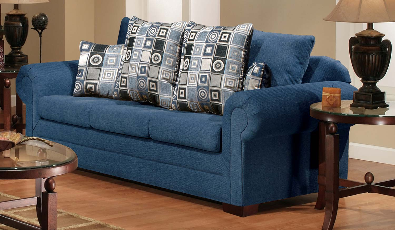 Chelsea Home Furniture Marsha Sofa - Tahoe Navy/Boomerang Navy 3550-S