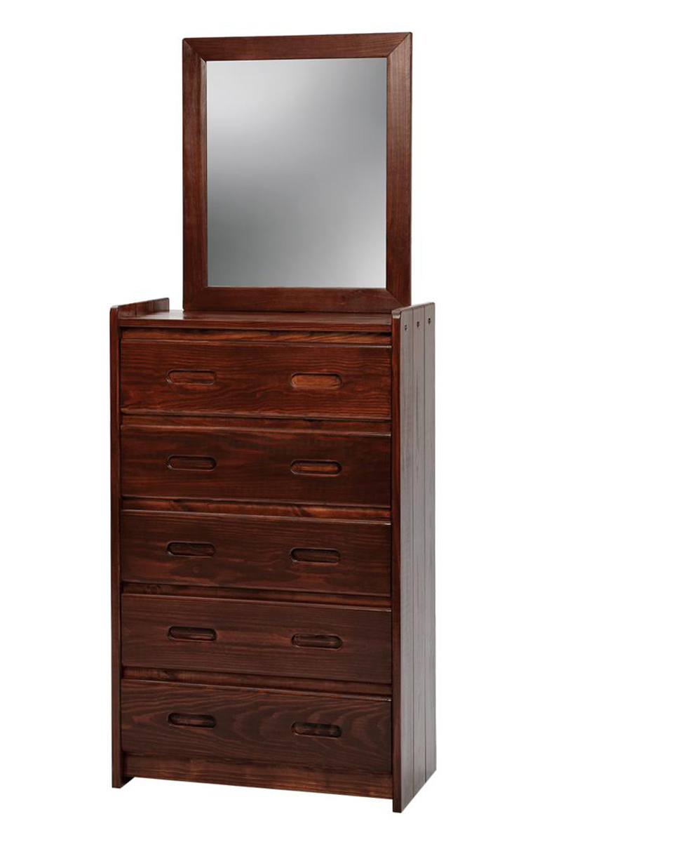 Chelsea Home 360025-011-D 5 Drawer Chest with Mirror - Dark