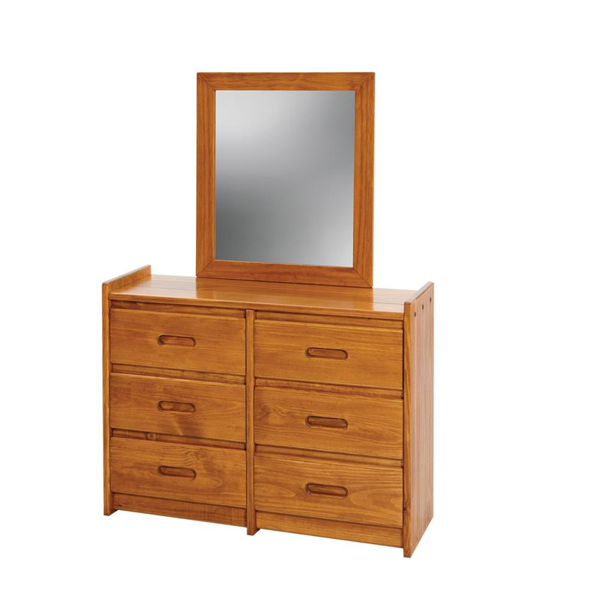 Chelsea Home 360066-011 6 Drawer Dresser with Mirror - Honey