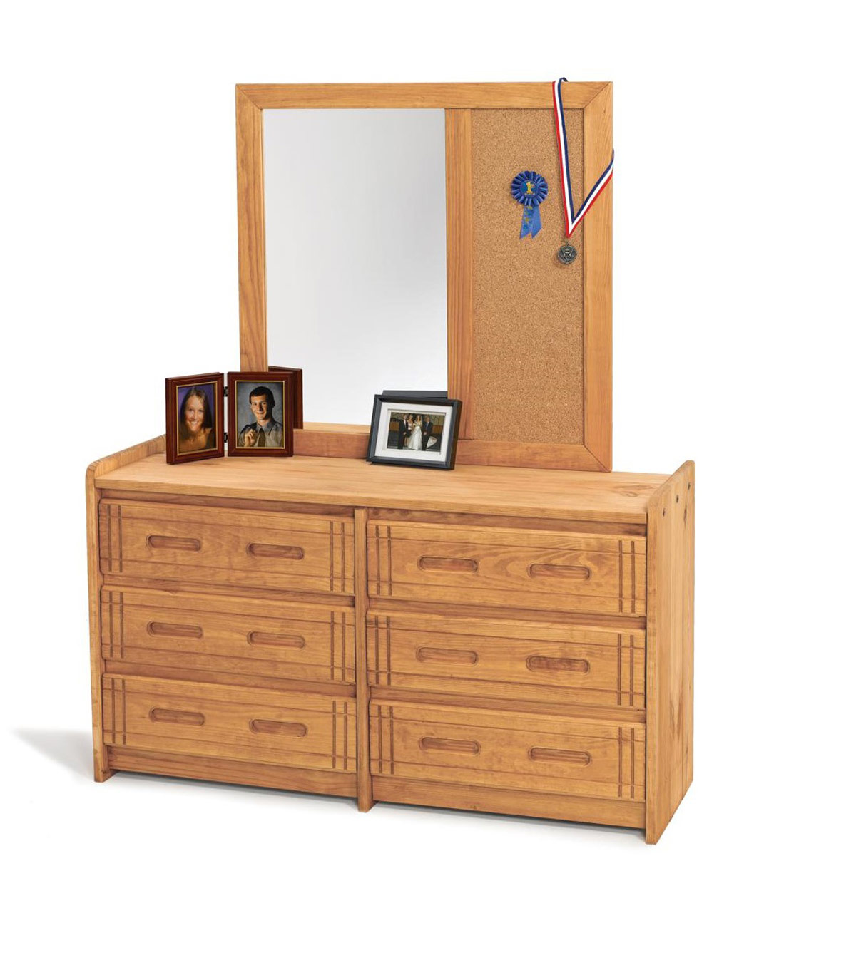 Chelsea Home 360066-012-W 6 Drawer Dresser with Mirror - Honey