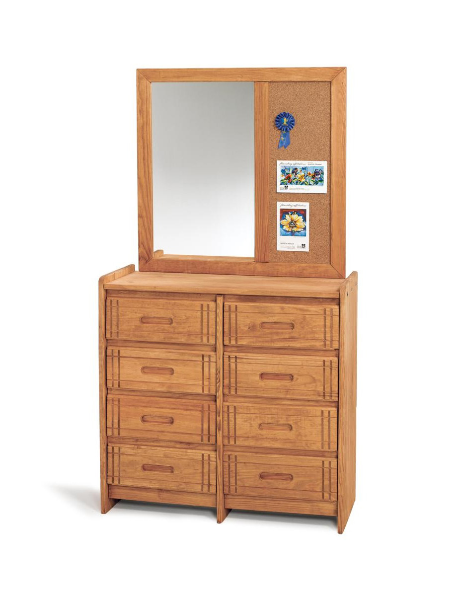 Chelsea Home 360088-012-W 8 Drawer Dresser with Mirror - Honey