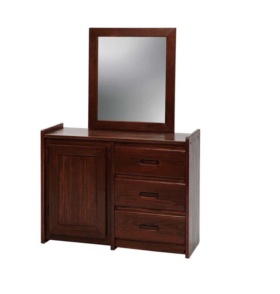 Chelsea Home 360134-011-D 3 Drawer Dresser with Storage Door and Mirror - Dark