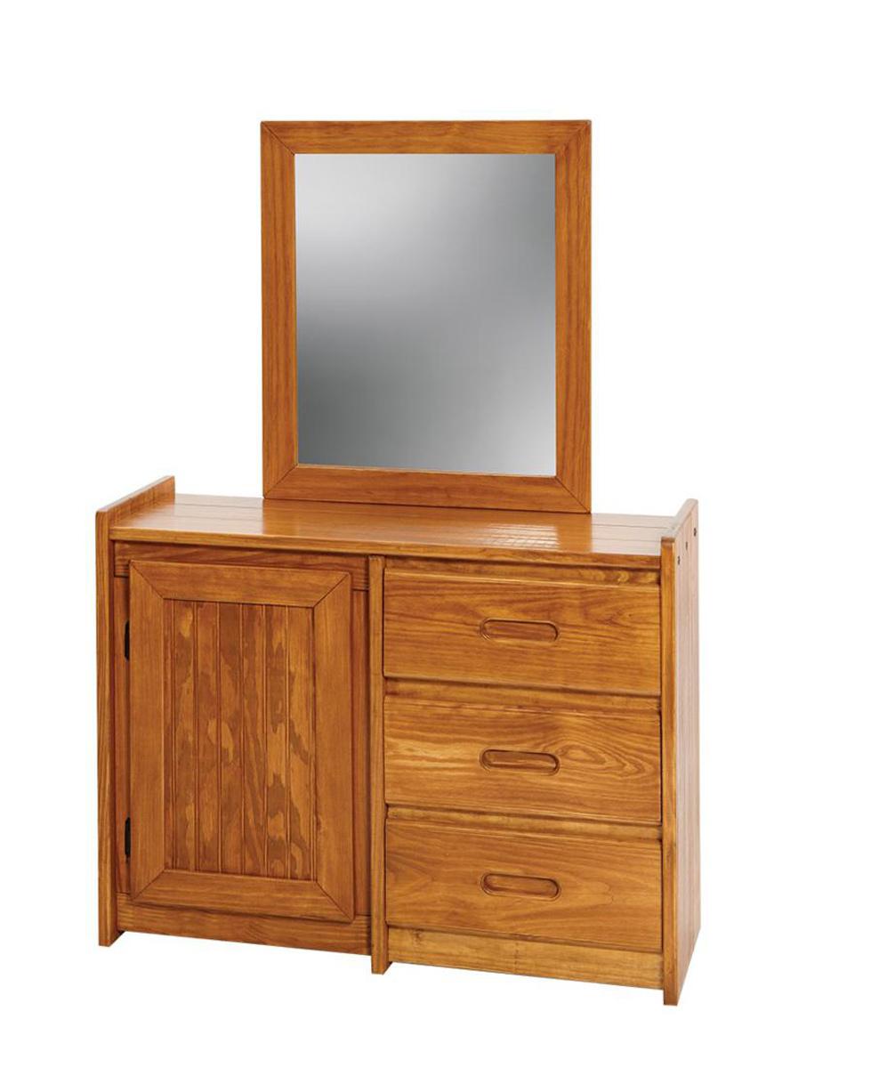 Chelsea Home 360134-011 3 Drawer Dresser with Storage Door and Mirror - Honey