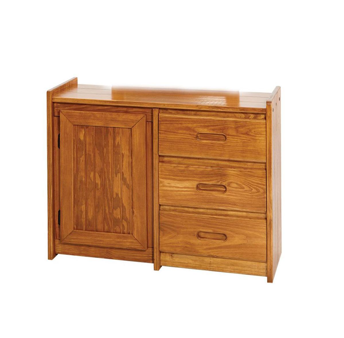 Chelsea Home 360134 3 Drawer Dresser with Storage Door - Honey