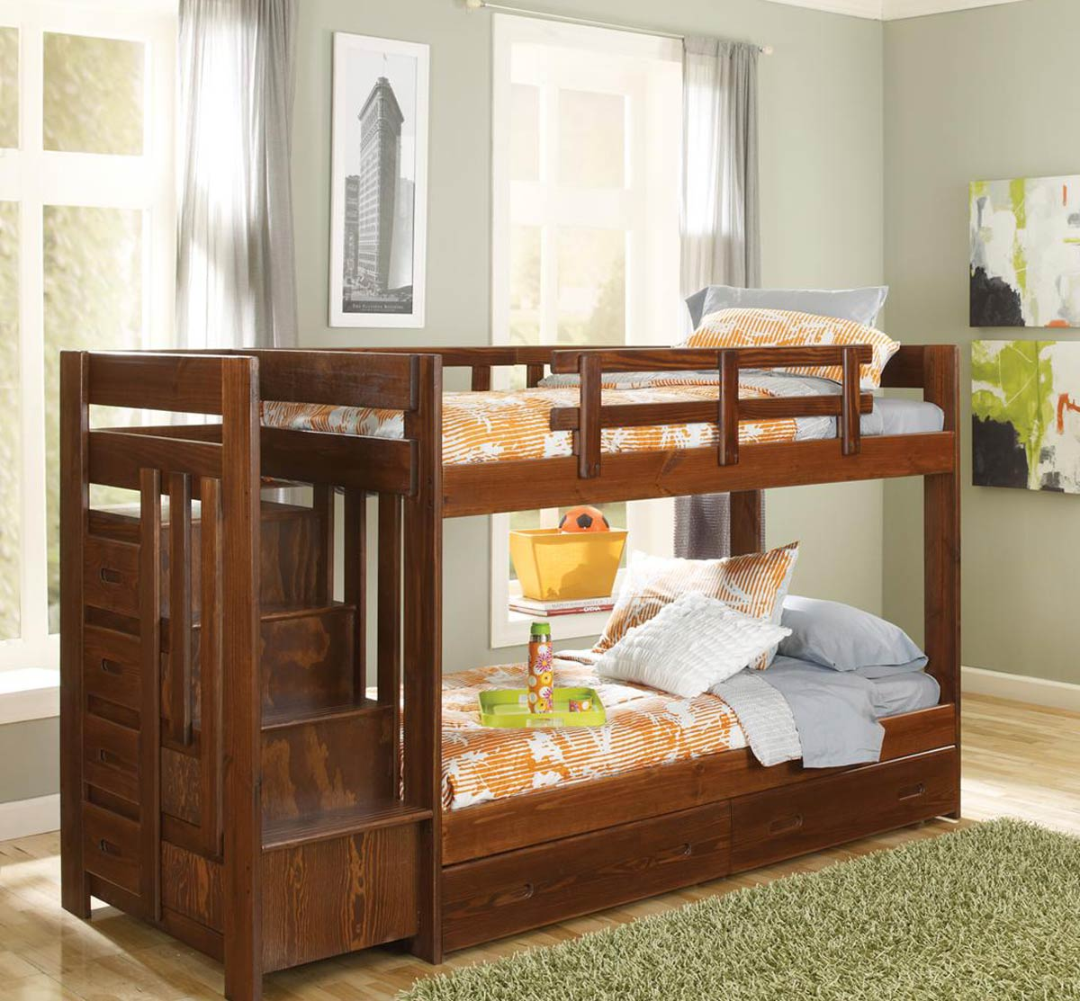 Chelsea Home 361544-S Twin Over Twin Reversible Stair Bunk Bed with Underbed Storage - Dark