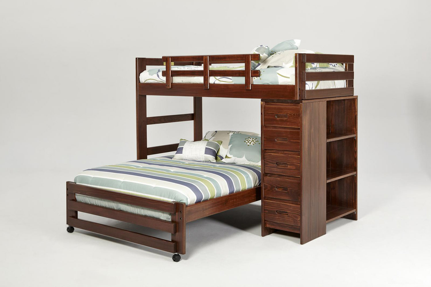 Chelsea Home 361550R Twin Over Full Loft with 5 Drawer Chest and Bookshelf End - Dark