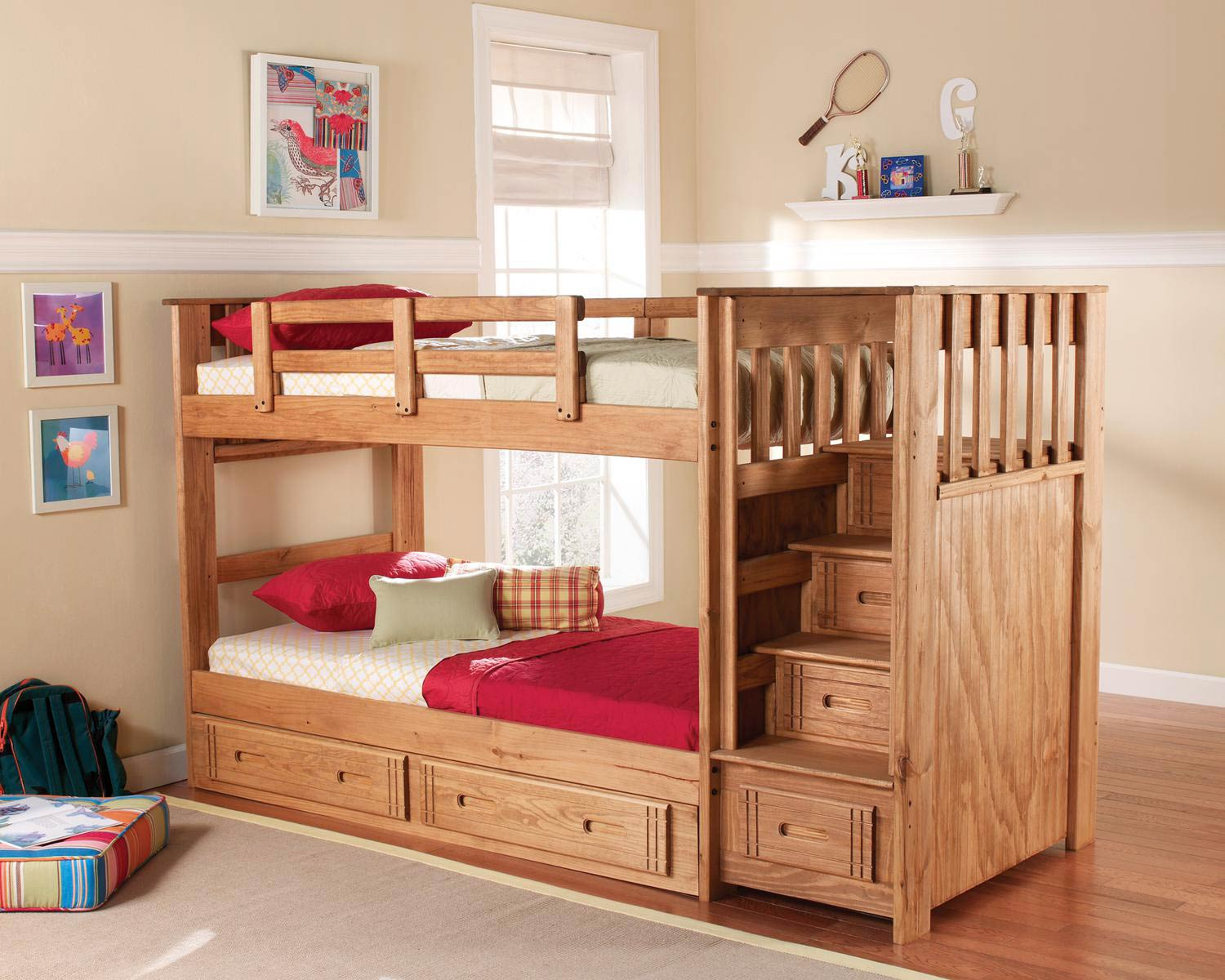 Chelsea Home Furniture Twin Over Twin Stairway Bunk with Underbed Storage - Honey 364001-S