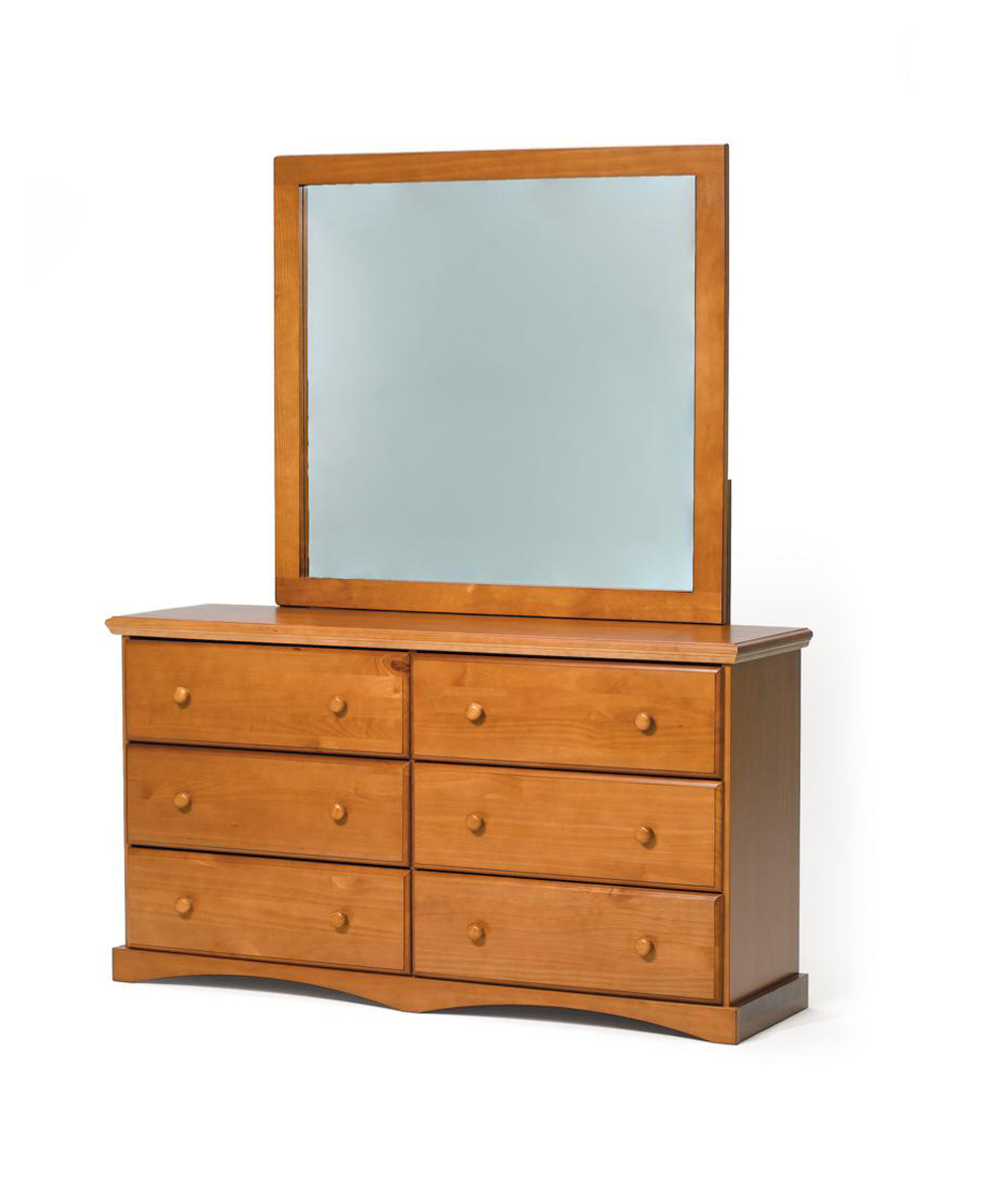Chelsea Home 3641160-41170 6 Drawer Dresser with Mirror - Honey