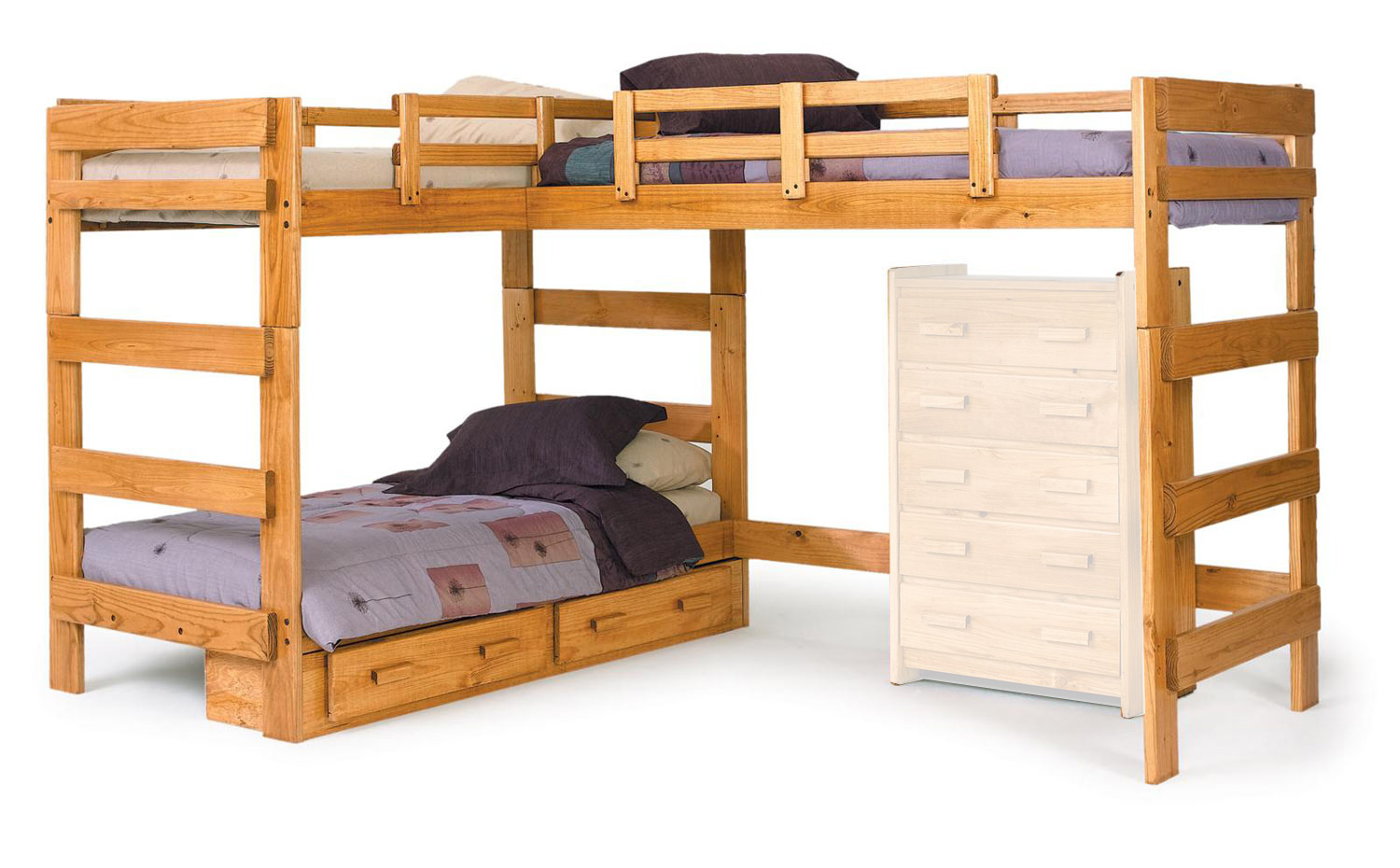 Chelsea Home 3662008-S L Shaped Loft Bed with Underbed Storage - Honey
