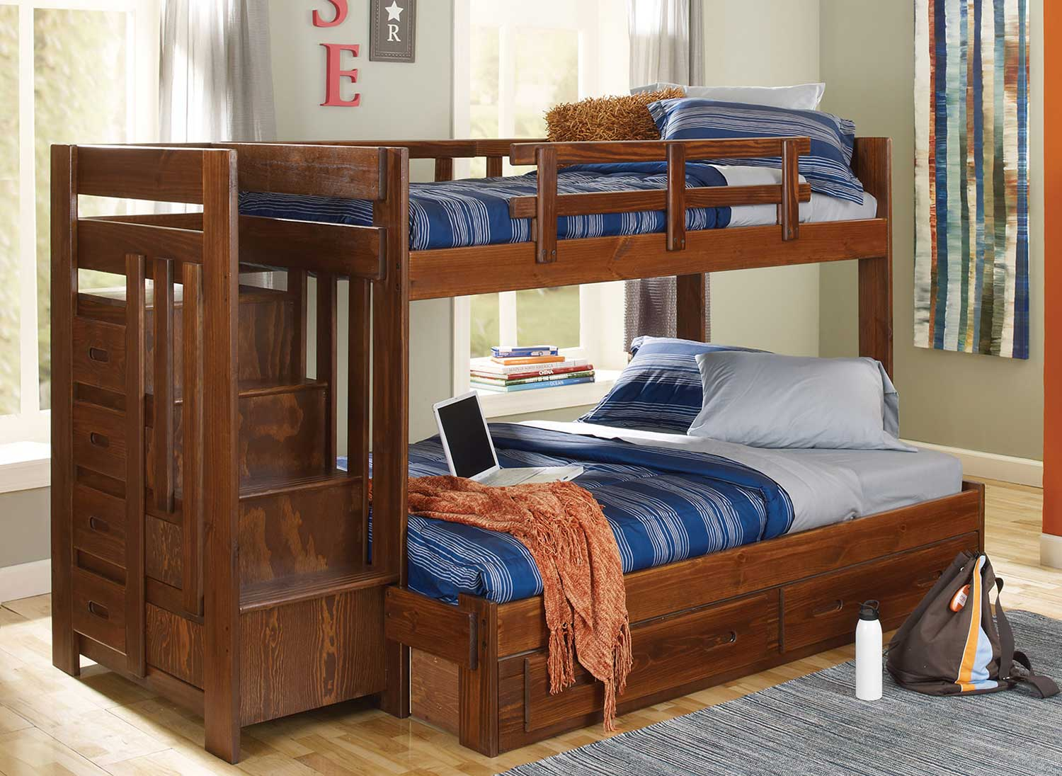 Chelsea Home Twin Over Full Reversible Bed with Stairway - Chocolate