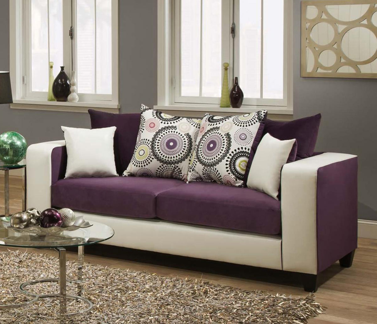 Chelsea Home Emboss Sofa Set - Purple