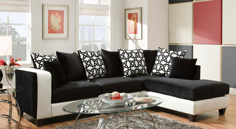 Chelsea Home Ame Sectional Sofa - Black
