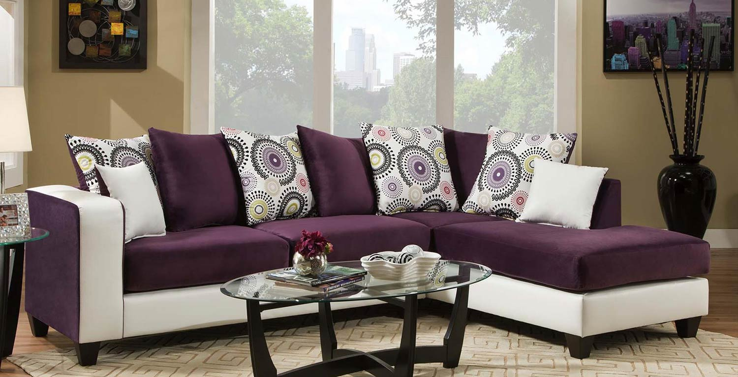 lavender sectional sofa Chelsea Home Ame Sectional Sofa Purple CHF 424124  05 SEC .