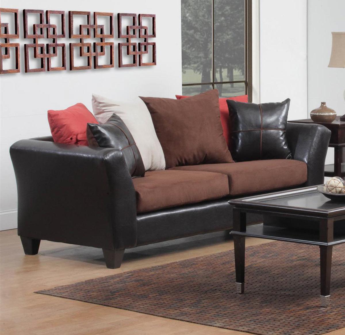 Chelsea Home 424170-07S Cira Sofa Set - Chocolate