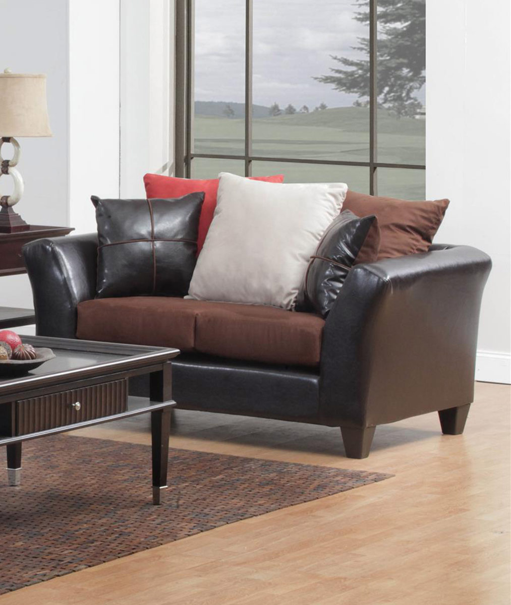 Chelsea Home 424170-07L Cira Loveseat - Chocolate