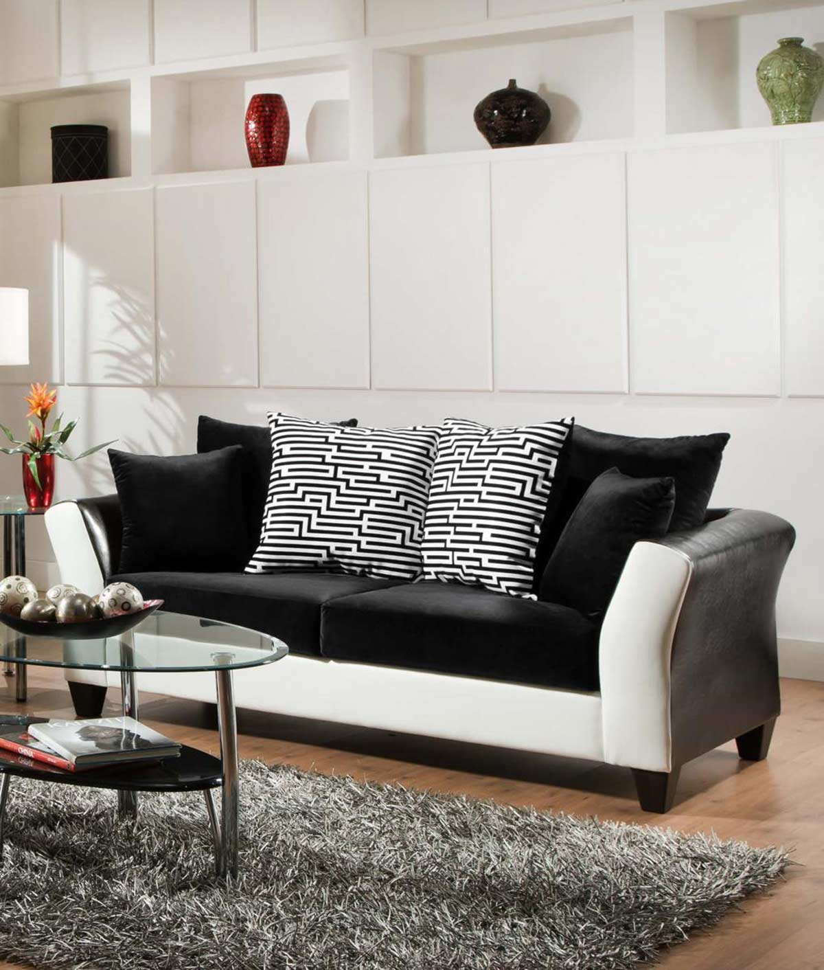 Chelsea Home Tau Sofa - Jefferson Black/Avanti White