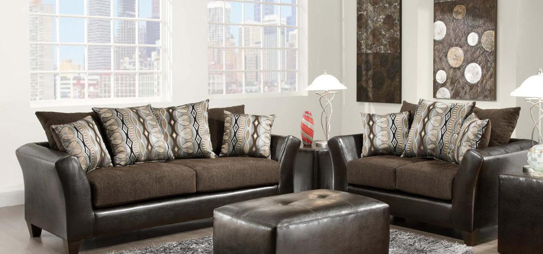 Chelsea Home Eta Sofa Set - Jefferson Chocolate/Rip Sable