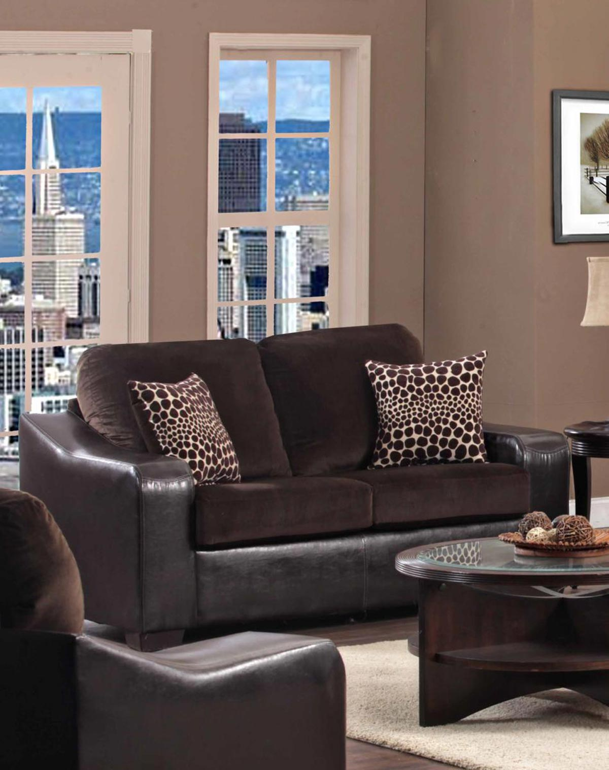 Chelsea Home Furniture Kappa Loveseat - Jefferson Chocolate/Explosion Coffee 427000-01-L