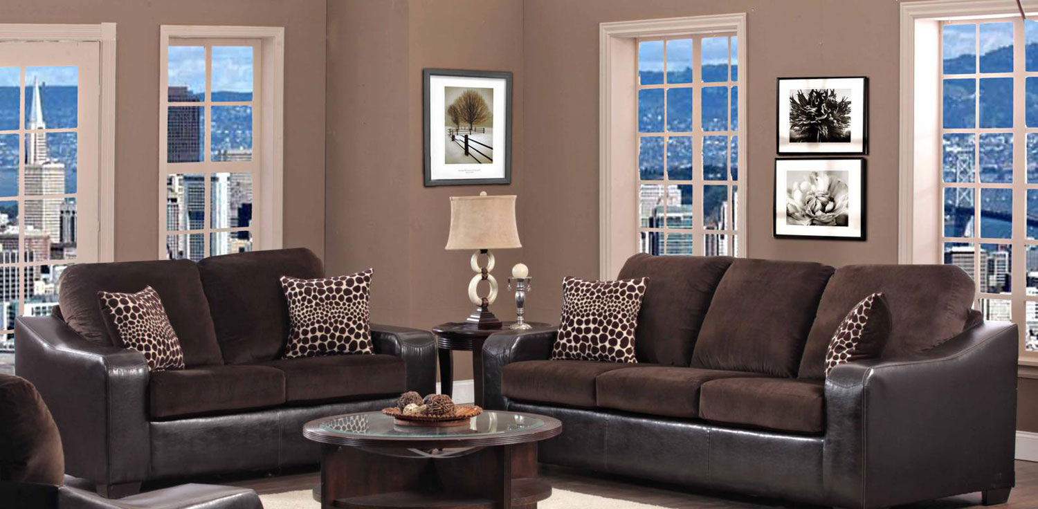 Chelsea Home Furniture Kappa Sofa Set - Jefferson Chocolate/Explosion Coffee 427000-1-Sofa-Set